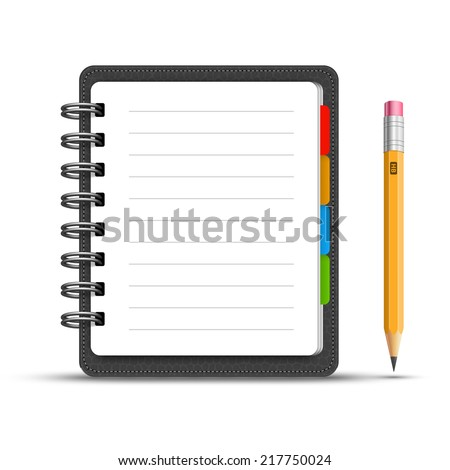 Realistic spiral leather notebook with bookmarks and detailed pencil vector - stock vector