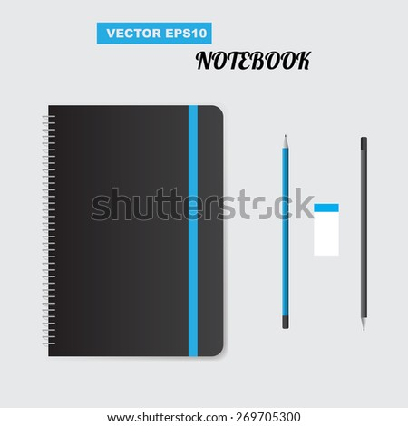 Realistic spiral notepad notebook. Vector - stock vector