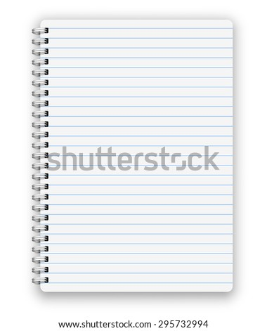 Realistic  spiral vector lined notebook isolated on white