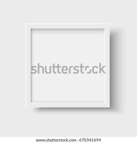Realistic square empty picture frame. Blank white picture frame mockup template  isolated on neutral background. Vector illustration