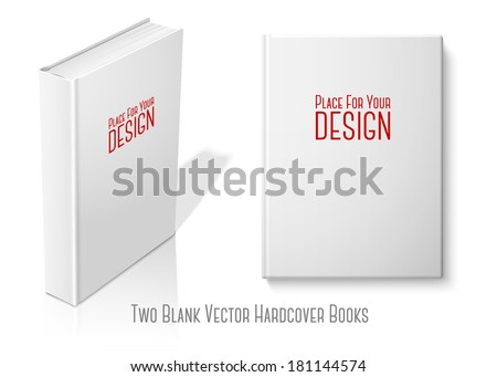 Realistic standing white blank hardcover book and book with front view. Isolated on white background with reflection for design and branding. Vector - stock vector