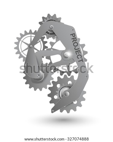Realistic steel gear as a design element - stock vector