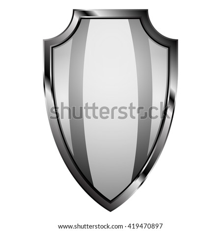 Realistic steel shield on isolated background. EPS 10. Shield as a part of knight ammunition: security of Middle Ages.