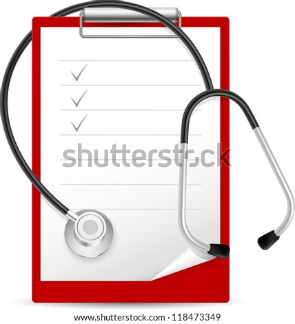 Realistic stethoscope and notes. Illustration on white background