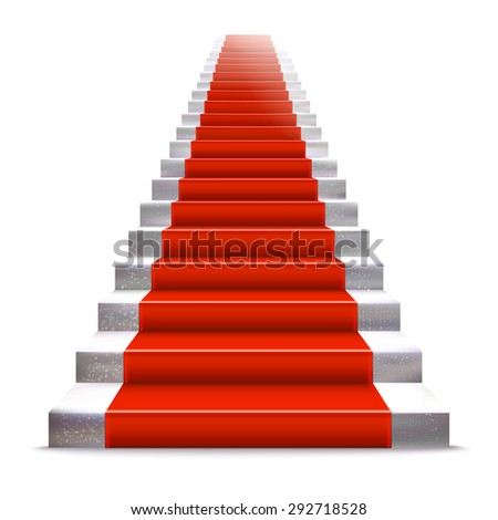 Realistic stone ladder with red carpet. Luxury style vector illustration. Staircase concept. - stock vector