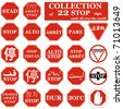 Realistic STOP sign collection from different countries. Vector - stock vector