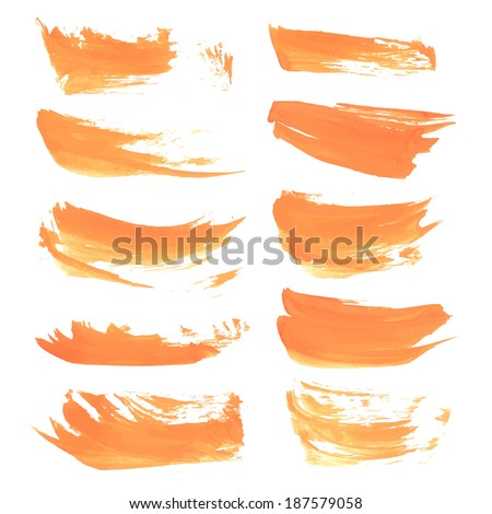 Realistic strokes wet orange paint on a white surface 3. Vector drawing - stock vector