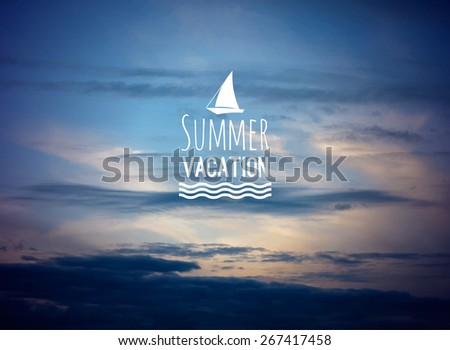 Realistic summer sea clouds view vector background with yacht logo - stock vector