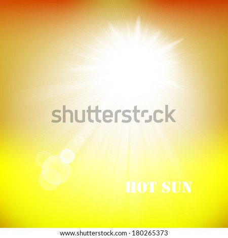 Realistic sun burst with flare. Sun on blue sky with lenses flare. Vector illustration.