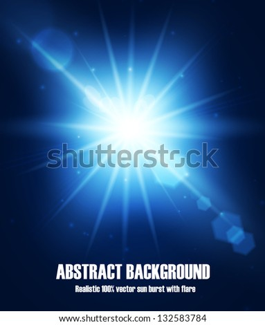 Realistic sun burst with flare. Vector illustration with spare for your text. - stock vector