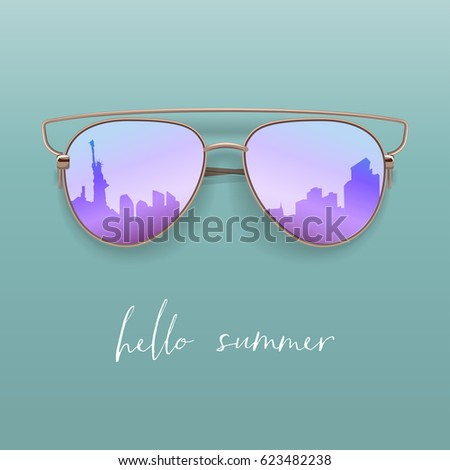 Realistic Sunglasses. Vector Isolated Element. Hello Summer Card.