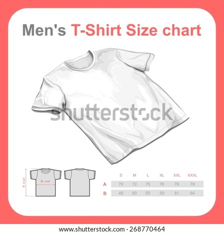 Realistic t-shirt vector mockup with size chart - stock vector