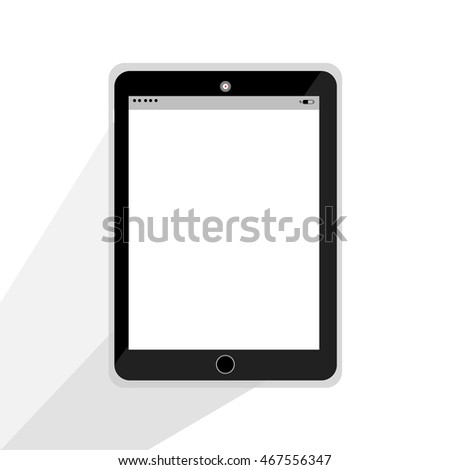Realistic tablet computer with red button