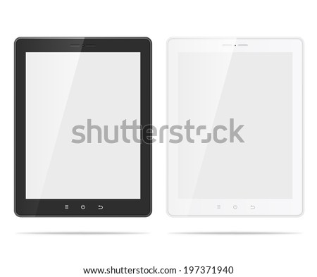 Realistic tablet pc black and white computers with blank screen isolated on white background - stock vector