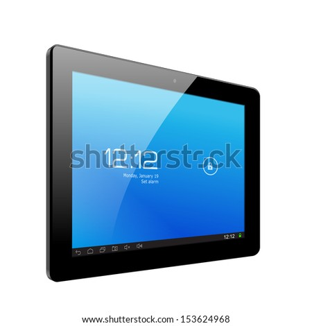 Realistic tablet pc computer. Vector Illustration - stock vector
