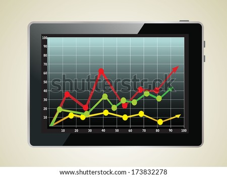 Realistic tablet pc computer with business graph