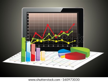 Realistic tablet pc computer with spreadsheet and a paper with statistic - stock vector