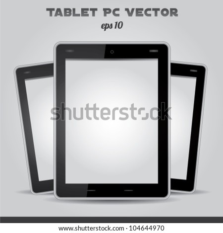 Realistic tablet pc vector white screen - stock vector