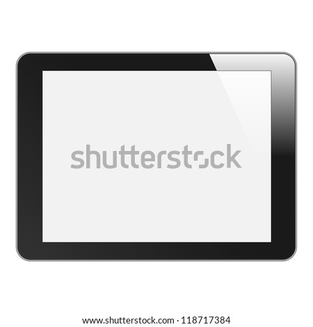 Realistic Tablet PC with blank screen. Black, horizontal. Isolated on white background. Vector EPS 10 - stock vector