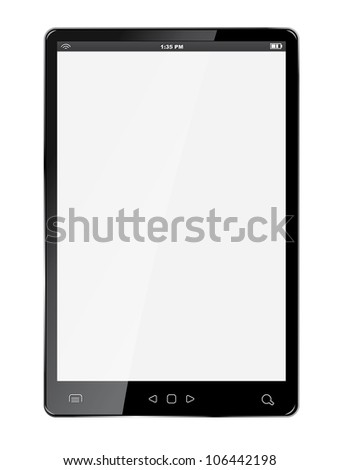 Realistic tablet with blank screen isolated on white background