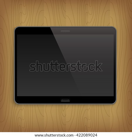 Realistic tablet with empty screen on wooden table. Vector illusration - stock vector