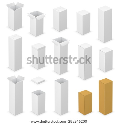 Realistic tall white vector opened blank boxes. Vector illustration - stock vector