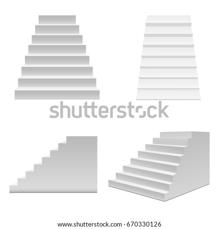 Realistic Template Blank White Staircase Stairs Stock Vector ...
