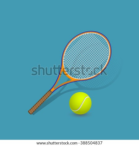 Realistic tennis racket and ball on blue background with shadow. Vector illustration.