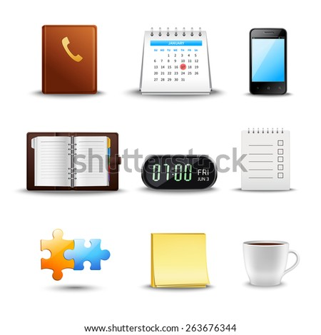 Realistic time management icons with notebook calendar schedule coffee cup isolated vector illustration - stock vector