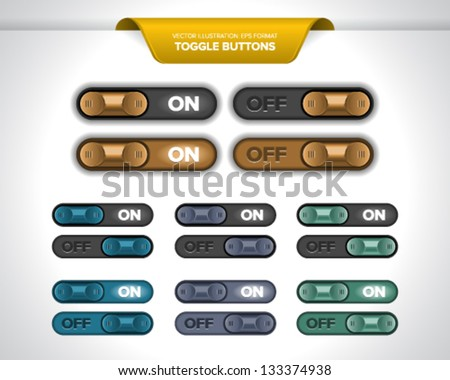 Realistic toggle buttons or sliders (ON/OFF). - stock vector