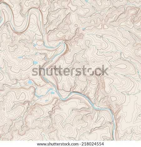 Realistic Topographic map of an area west of Austin, Texas. Vector map is layered with iso-lines, rivers, bodies of water and background on different layers.  - stock vector