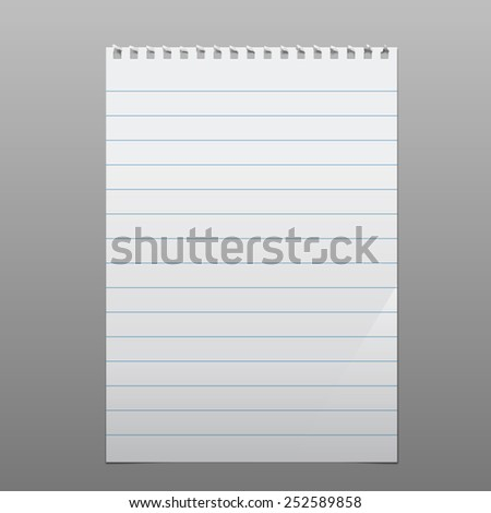realistic torn blank lined sheet. square perforation above. portrait orientation - stock vector