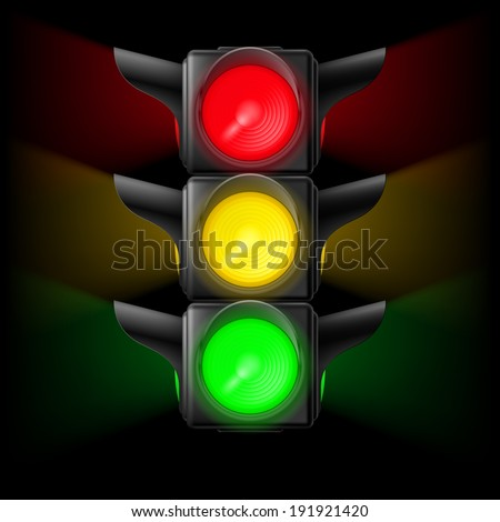 Realistic traffic lights with all three colors on. Illustration on black - stock vector