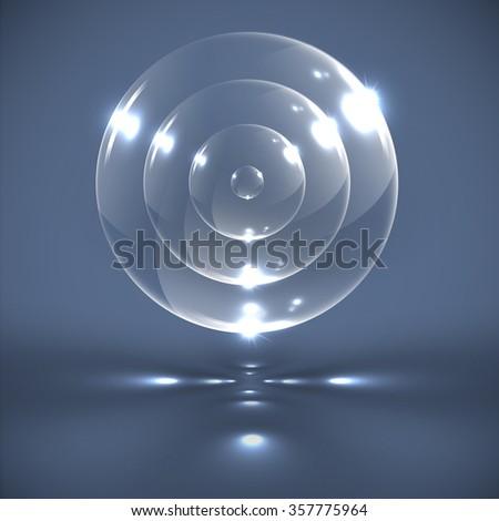 Realistic transparent spheres, vector - stock vector