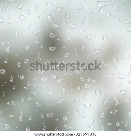 Realistic transparent water drops on light grey glass background. Vector eps10 illustration - stock vector