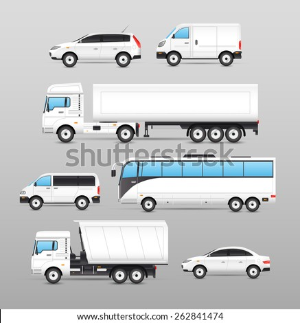 Realistic transport icons set with car van bus truck isolated vector illustration - stock vector