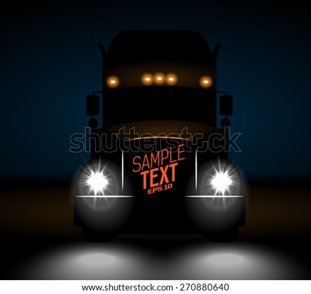 realistic truck front view at night - stock vector