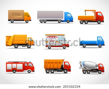 Realistic truck lorry transport van auto set isolated vector illustration - stock vector