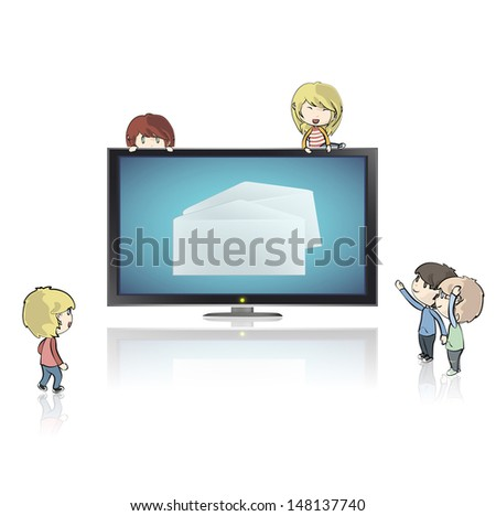 Realistic TV isolated on white background with envelope inside. Vector design.