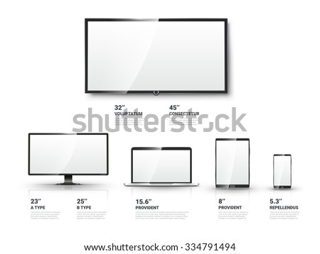 Realistic TV screen, Lcd monitor, laptop and tablet and mobile phone templates set. Computer and communication, display vector illustration - stock vector