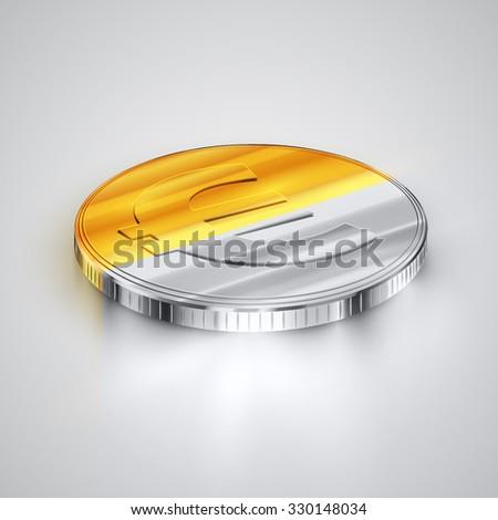 Realistic two-coloured coin (Euro), vector - stock vector