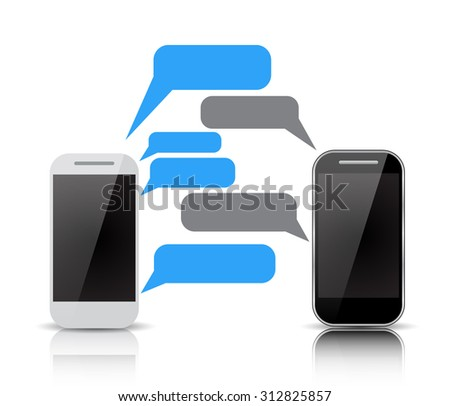 Realistic  two smartphones with blank speech bubbles on the screen. Using mobile smart phone for text messaging