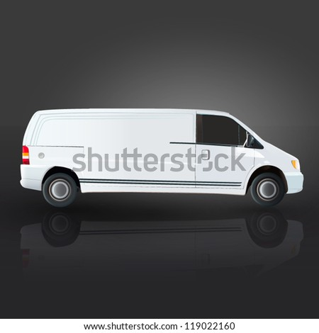 Realistic van on black background. Vector design. - stock vector