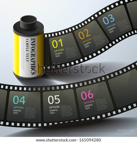 realistic vector abstract 3d film infographic elements - stock vector