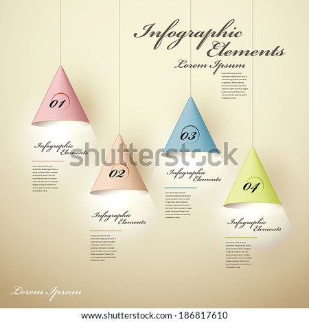 realistic vector abstract 3d luminous chandelier infographic elements - stock vector