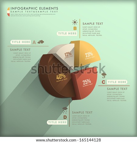 realistic vector abstract 3d pie chart infographic elements - stock vector