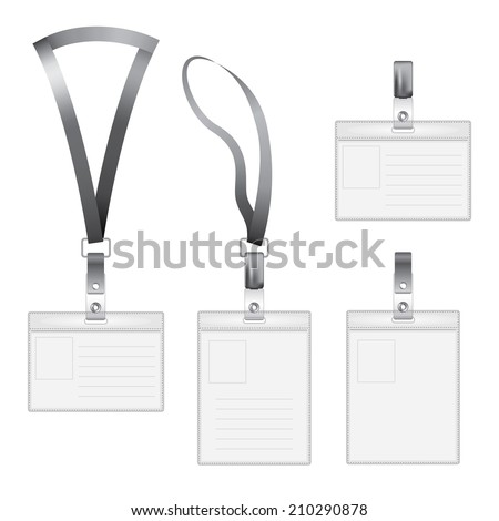 Realistic vector badge, card name or id holder. Isolated on white. EPS 10 format.