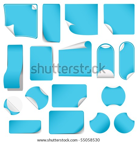 realistic vector blue stickers with peeling corners - stock vector