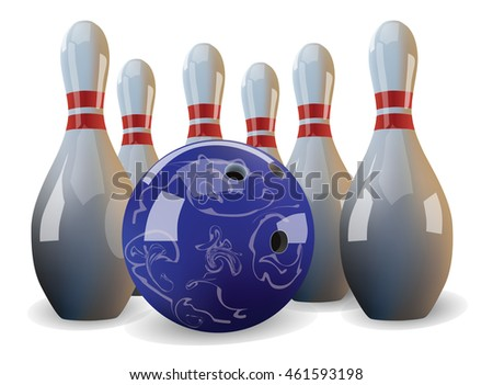 Realistic vector bowling ball and six pins