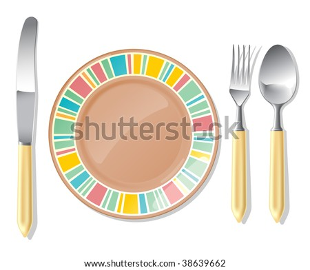 Realistic vector brown plate and steel spoon, fork, table knife.